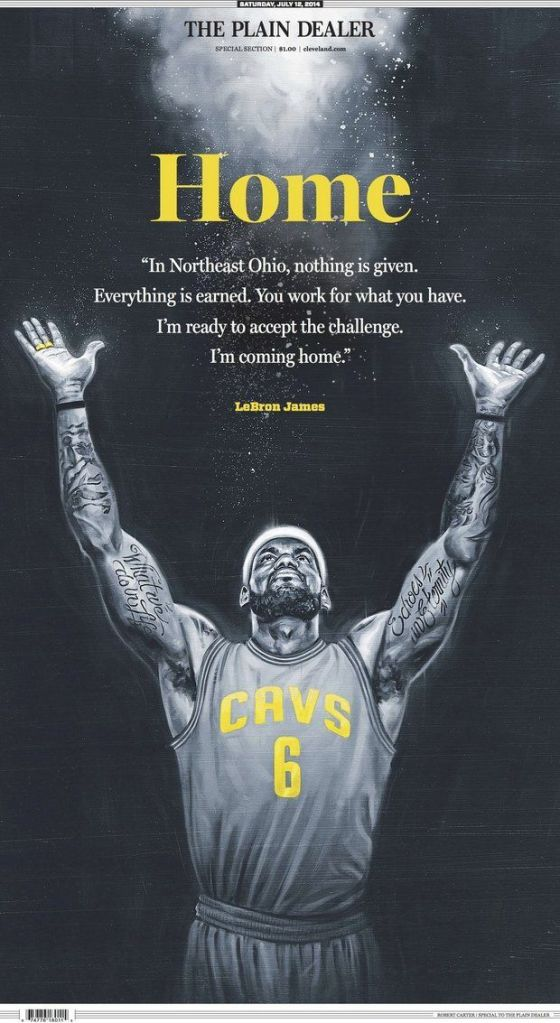 The Cleveland Plain Dealer was ready with its front page upon LeBron James' return to the Cavaliers. (Credit: Cleveland Plain Dealer)