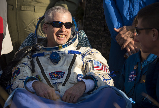 Astronaut Steve Swanson shortly after landing in Kazakhstan. The Colorado native was commander aboard the International Space Station for six months.