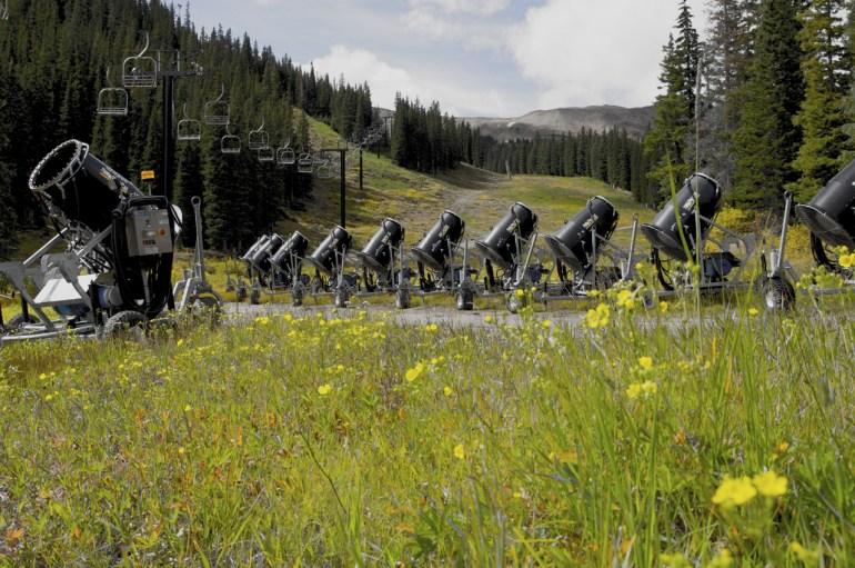 Snow guns lined up at Loveland Ski Area. Photo credit: Dustin Schaefer/Loveland Ski Area