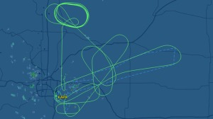 This is the plane's flight path, which shows several circles and loops as it burned off fuel before attempting the emergency landing. (Photo: FlightAware.com)