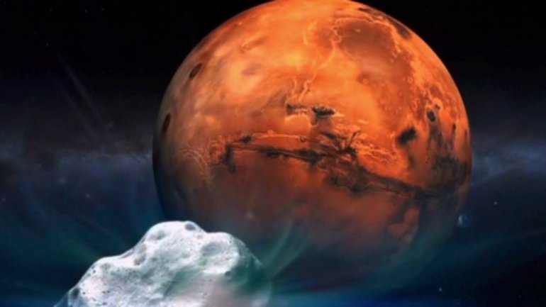 Artist's drawing of comet's close encounter with Mars