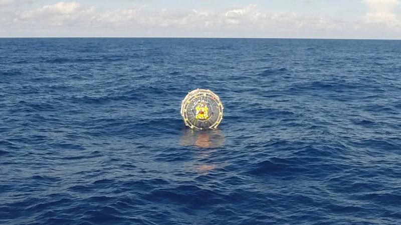 The Coast Guard Cutter Bernard C. Webber arrives on scene off the coast of Miami to respond to a report of a man aboard an inflatable hydro bubble who was disoriented asking for directions to Bermuda Oct. 1, 2014. The man was later rescued on Oct. 4, 2014, after he activated his personal indicating radio beacon upon suffering from exhaustion.