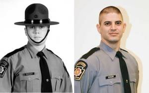Pennsylvania state troopers Cpl. Bryon Dickson (right) and  Trooper Alex T. Douglass (left).