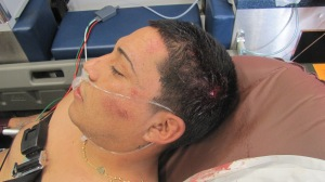 This photo shows cuts and bruises on David Flores' head