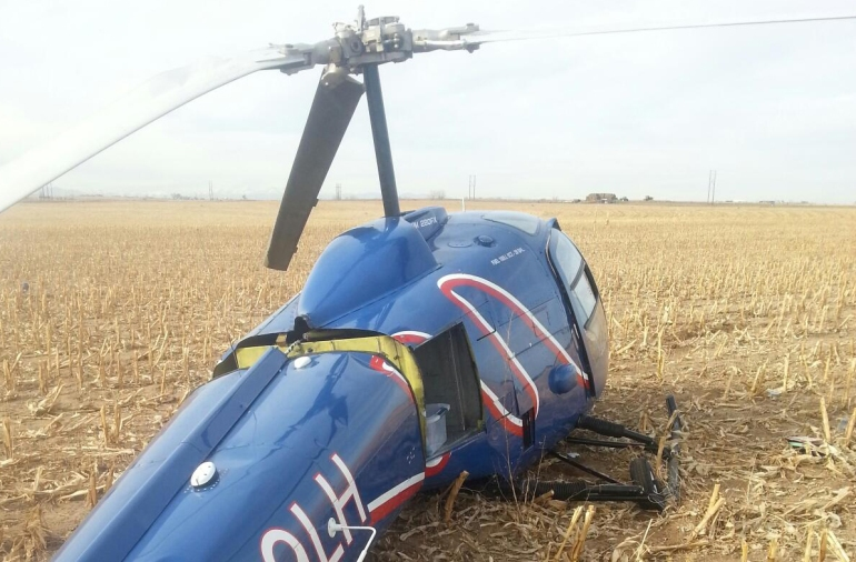 Helicopter crash lands in Weld County, Colo. Photo: Weld County Sheriff's Office