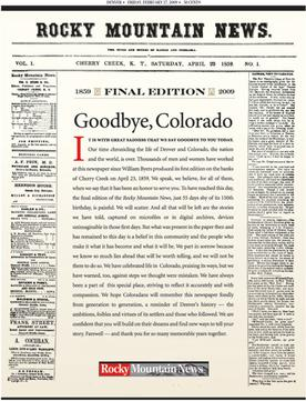 The last front page of the Rocky Mountain News when it closed in 2009.