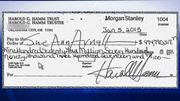 After a highly contentious divorce, Sue Ann Arnall rejected a check for $975 million  her ex-husband Harold Hamm sent her, according to his attorneys.