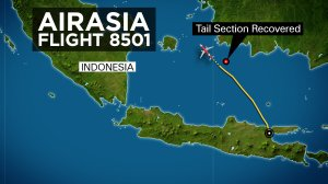 The tail section of AirAsia Flight QZ8501 was located on the sea floor Wednesday, Jan. 7, 2015. The discovery fueled hopes that searchers may be close to recovering the plane's crucial black boxes containing the cockpit voice recorder and flight data recorder.