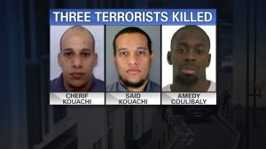 Cherif Kouachi, Said Kouachi and Amedy Coulibaly were killed by security forces in raids in and around Paris, France Friday night, Jan. 9, 2015. The Kouachi brothers were killed following a hostage standoff at a printing shop in Dammartin-en-Goele. Coulibaly, a close associate of Amedy, was killed following a hostage standoff at a grocery near the Porte de Vincennes neighborhood of Paris.