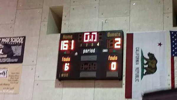The Arroyo Valley High School girls basketball team from San Bernardino, Calif., beat a team from Bloomington High School in California, 161-2, in a nonleague varsity game on Monday, Jan. 5, 2015. (Credit: Facebook)