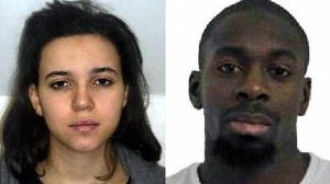 Police released images of Hayat Boumeddiene, left, and Amedy Coulibaly, suspects in the death of a policewoman in Paris on Thursday, Jan. 8, 2015.