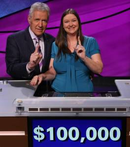 Jennifer Giles of Longmont, Colo with Jeopardy! host Alex Trebek