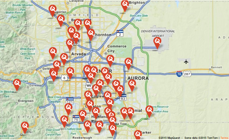 Click map to find the Denver area location closest to you.