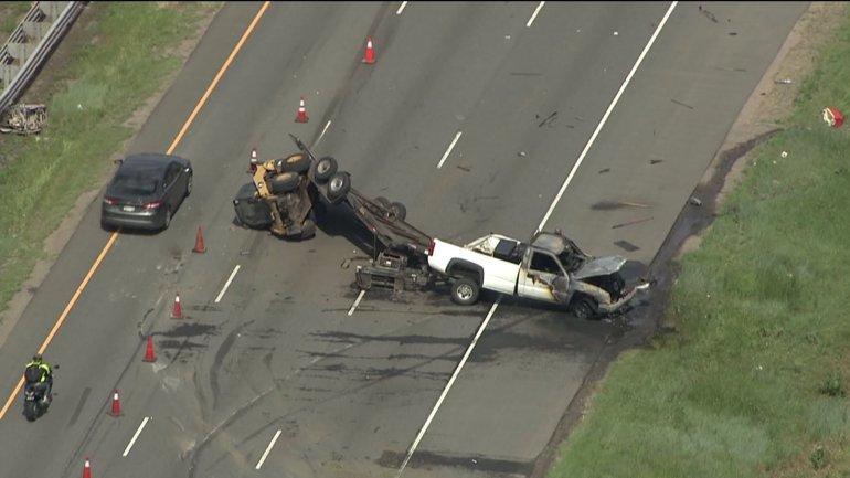 Crash on eastbound I-70 near Ward Rd. in Wheat Ridge, Colo.