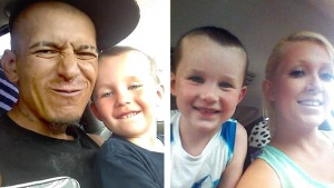 Carlos Torres poses with son Zayden (left) and Stephanie Greer poses with son Zayden (right). Torres died in a car accident on Interstate 76 in Brighton on Thursday, June 18, 2015. Stephanie Greer and her four children survived, though three of the children have serious injuries. (Photos: Stephanie Greer)