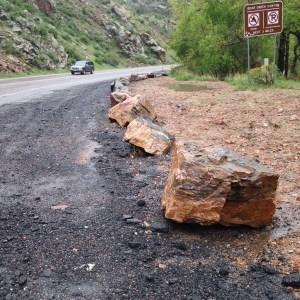 Rocks block parking in Bear Creek Canyon