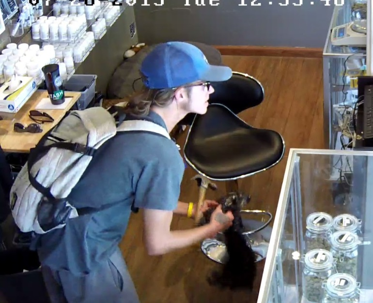 Surveillance footage shows Hayden May, suspect in an aggravated robbery of a marijuana shop in Aspen. (Photo: Aspen PD)