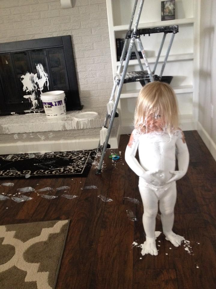 Anistyn Farmer covered herself in white paint while her mother, Victoria Farmer, was nursing her son in their Aurora home. (Photo: Victoria Farmer)