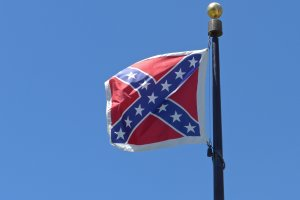The Confederate battle flag flies on the grounds of the South Carolina State House in Columbia on July 5, 2015.