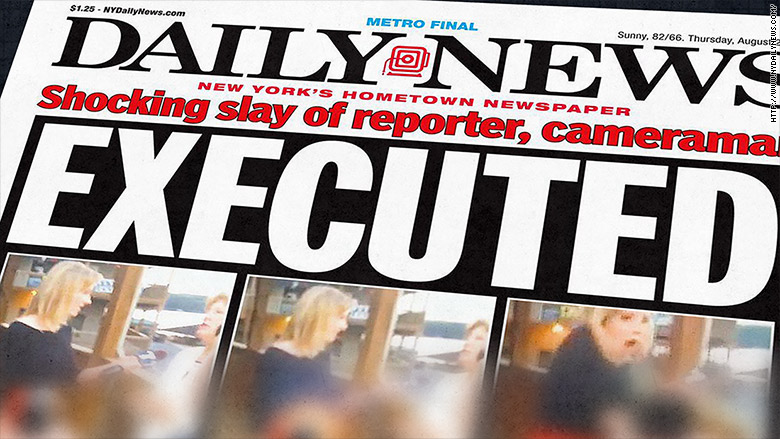The New York Daily News front page on Thursday, Aug. 27, 2015 received criticism for using stills from video taken by a gunman who shot and killed two journalists and injured another. (Photo: NY Daily News/CNN)