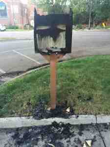 This Little Free Library stand in Denver was burnt to the ground by a mystery vandal. (Photo: Reddit)