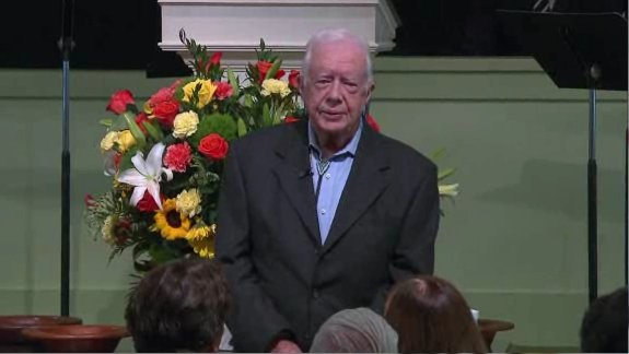For decades, former President Jimmy Carter has been teaching Sunday school here at Maranatha Baptist Church in his hometown of Plains, Georgia. But this Sunday's lesson commanded attention far beyond the worshippers who packed the pews and overflow rooms in the wake of the revelation that the 90-year-old Carter is battling cancer. (Photo: CNN)