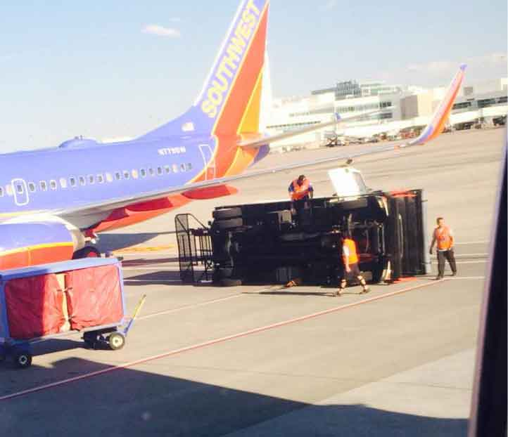 Catering truck hit by Southwest jet at Denver International Airport. Photo credit: Gina Whitlow (suzdal92)