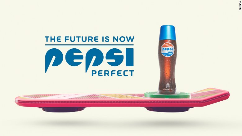 "PepsiCo will be releasing ""Pepsi Perfect,"" the same soda that time traveler Marty McFly drinks in ""Back to the Future Part II,"" the company announced on Monday. (Photo:  CNN)"