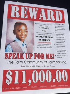 Chicago churches are offering an $11,000 reward for information leading to the arrest of the murderer of 9-year-old Tyshawn Lee.  (Photo: The Faith Community of Saint Sabina, CNN)