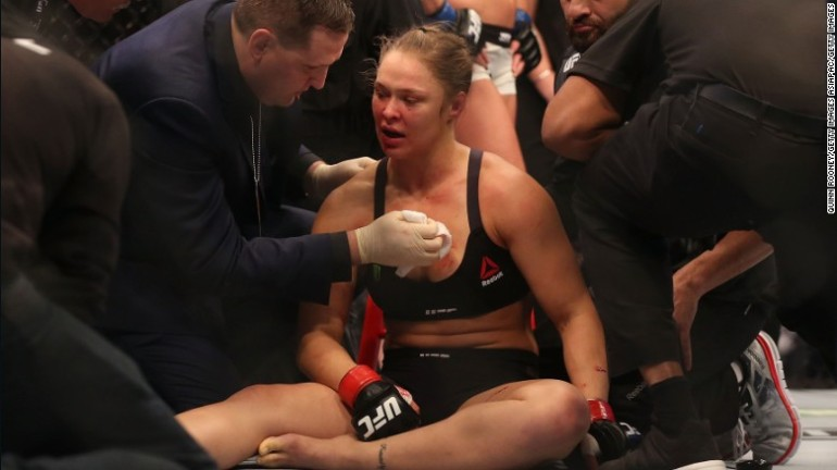 Ronda Rousey was defeated by Holly Holm in a huge UFC upset on Saturday, Nov. 14, 2015. (Photo: CNN)