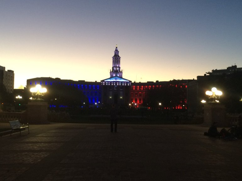 The Denver City and County Building was lit up in the colors of France for a show of solidarity following the attacks in Paris. (Photo: Paul Makarushka)