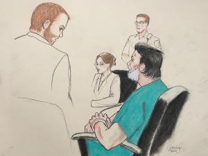 A courtroom sketch of Robert Dear Jr., in green, appearing in an El Paso County Court to hear charges against him in connection with a Nov. 27, 2015 shooting at a Colorado Springs Planned Parenthood. (Photo: El Paso County District Court)