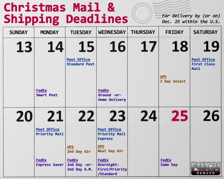 Christmas Mail & Shipping Deadlines 2015
