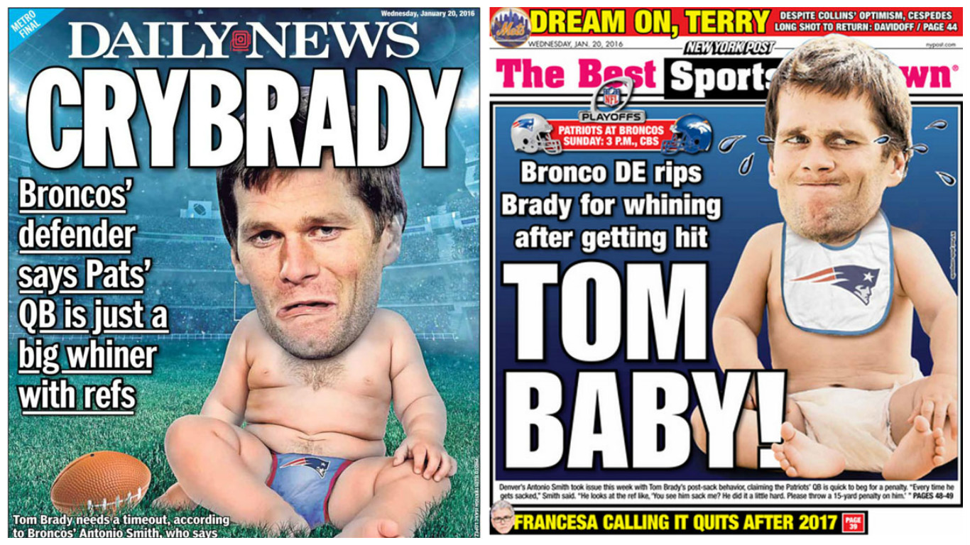 Back page covers of the New York Daily News and New York Post on Wednesday, Jan. 20, 2016.