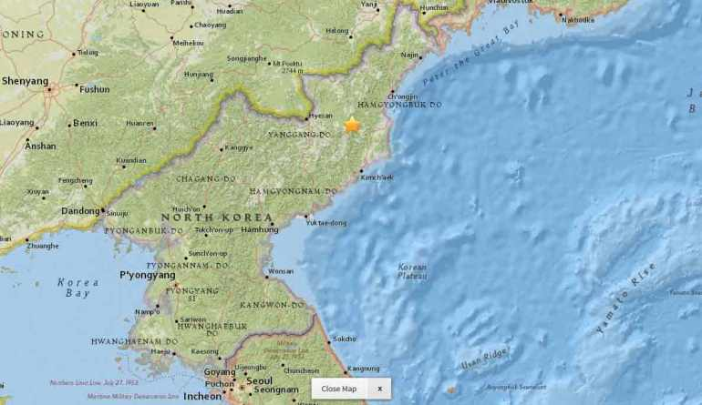 Star shows location of seismic event in North Korea. Jan. 5, 2016