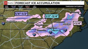 Ice accumulation is a major concern in two chunks of the south: an area covering parts of Arkansas, Tennessee and Kentucky, and one including northeast Georgia, the Carolinas and parts of Virginia. Up to 1 inch of ice accumulation is possible from northeast Georgia into the Carolinas. That's potentially terrible news for drivers, and the weight of the ice can snap power lines or bring down trees that will do the same.