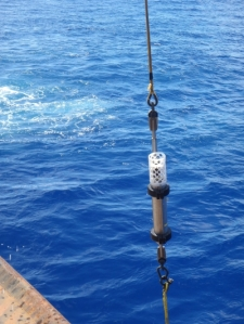 Hydrophone being lowered into the Challenger Deep trough in the Mariana Trench in 2015. (NOAA)