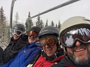 Mark Stangl, far left, and friends on a chairlift