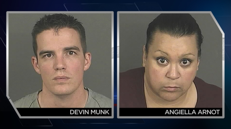Denver Police officer Devin Munk, 31, and Angiella Arnot, 47, were arrested on charges of sexual assault. (Photos: Denver Police)