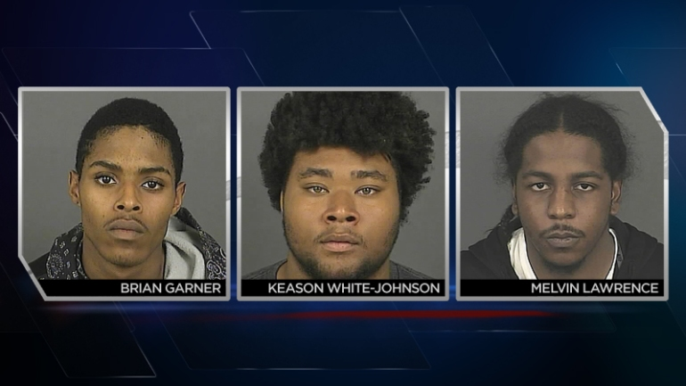 Brian Garner, Melvin Lawrence and Keason White-Johnson were arrested in connection with a shooting outside Benihana's in April. (Photos: Denver Police)