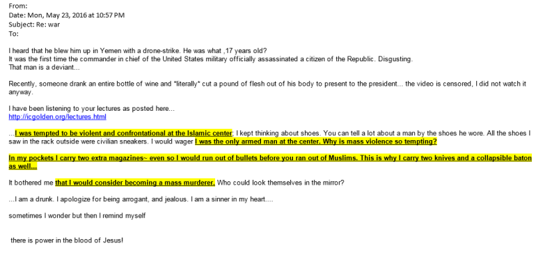 A threatening email sent to the Islamic Center of Golden.