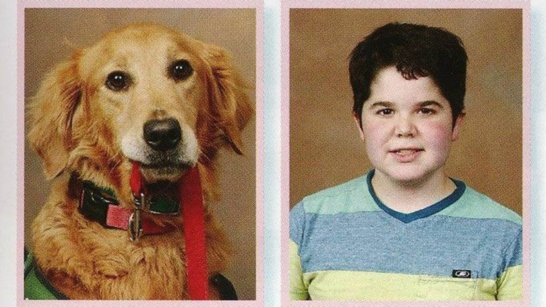 Presley the service dog got to be in the school yearbook next to his owner/friend Seph.