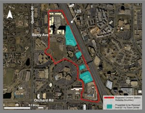 Map of proposed town center in Greenwood Village