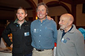 Jim Detterline with Tommy Caldwell and Tom Hornbein at the Stanley Hotel. Photo courtesy Longs Peak Summit Club.