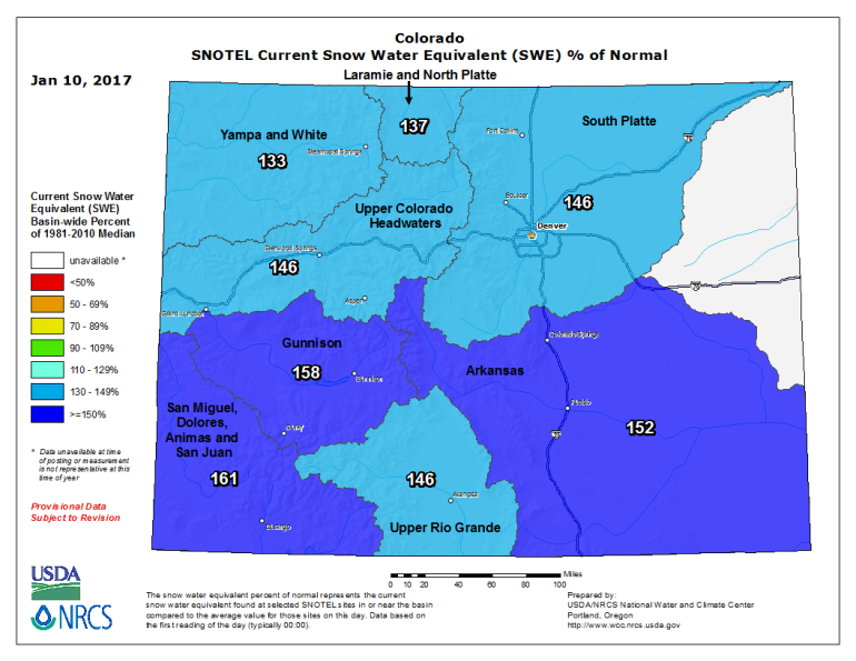 Snowpack Update Map. Statewide average is 147 percent of normal.