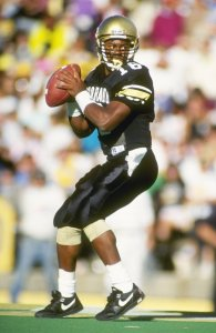 Vance Joseph as quarterback for the Colorado Buffaloes in Oct. 1990. (Photo: Tim DeFrisco / Stringer / Getty Images)