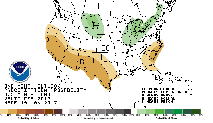 CPC one month forecast. Areas in green represent locations where above average precipitation is forecast. Areas shaded brown are those included in the below average forecast.