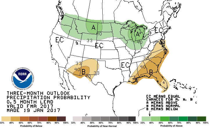 CPC three month forecast. Areas in green represent locations where above average precipitation is forecast. Areas shaded brown are those included in the below average forecast.