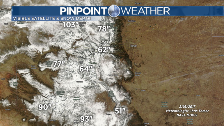 Snow-covered mountains and snow depths in inches.  White is snow, brown is bare ground.  (Meteorologist Chris Tomer)