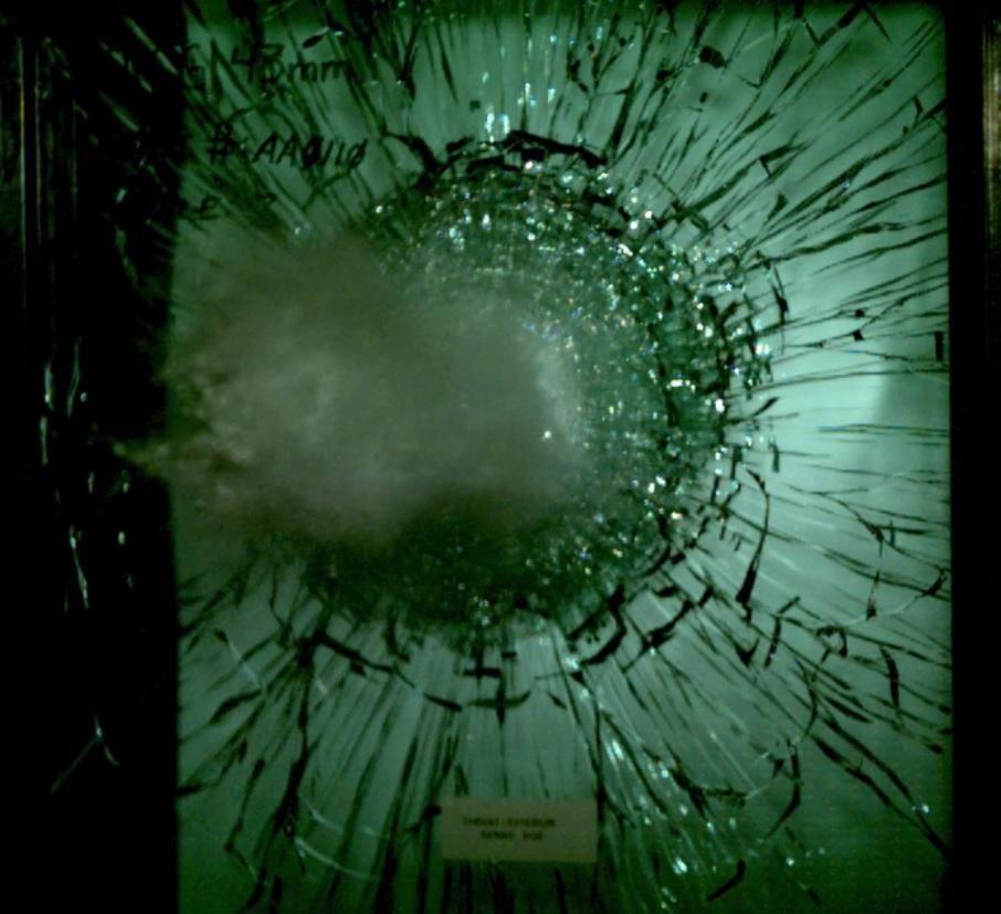 Ballistic Glass Hit by Bullet